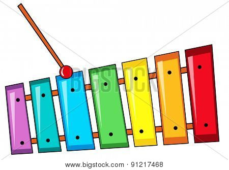 Closeup colorful xylophone with the stick
