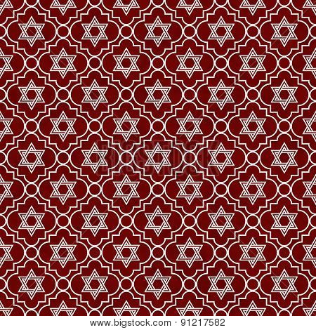 Red And White Star Of David Repeat Pattern Background