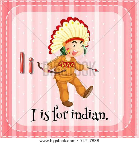 Flashcard alphabet I is for indian