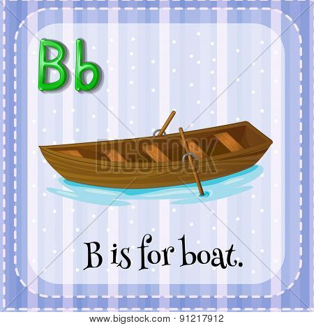 Flashcard alphabet B is for boat