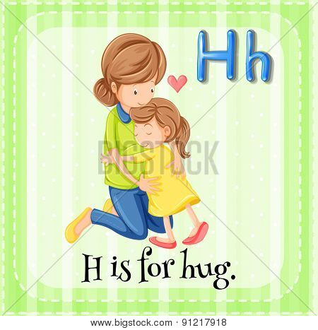 Flashcard alphabet H is for hug