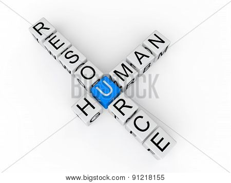 Human resource cubes 3d text