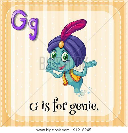Flashcard alphabet G is for genie