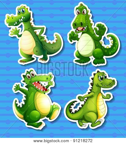Four green dragon in different positions
