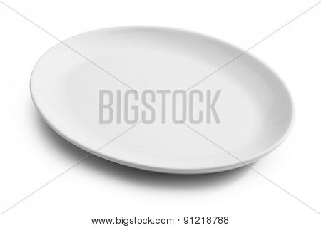 white oval empty plate isolated