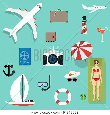 Vector icons and concepts in flat style - travel and vacation.
