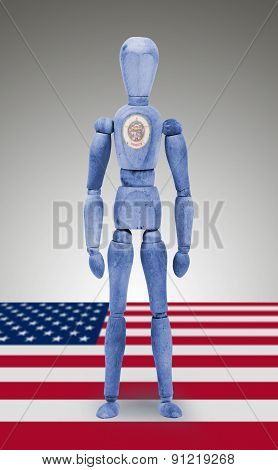 Wood Figure Mannequin With Us State Flag Bodypaint - Minnesota