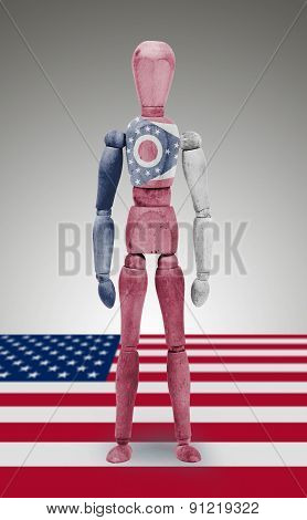 Wood Figure Mannequin With Us State Flag Bodypaint - Ohio