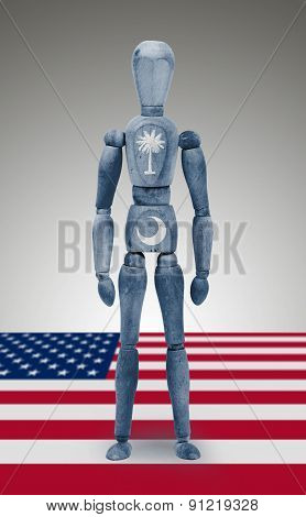 Wood Figure Mannequin With Us State Flag Bodypaint - South Carolina