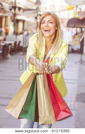 Happy Shopping Young Woman