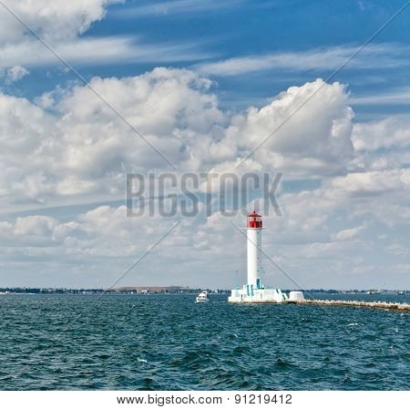 Harbor lighthouse. Odessa, Ukraine