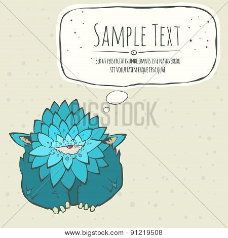 Cartoon card blue thick monster with one eye. Speech bubble. Hand drawn cyclops