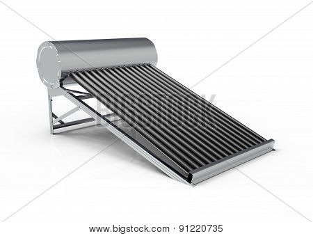 Solar Water Heater Isolated On White