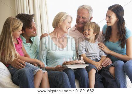 Extended Family Group Celebrating Birthday