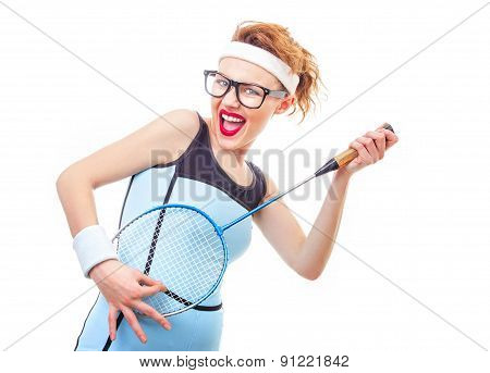Sport Woman With Racket, Funny Girl Playing Tennis
