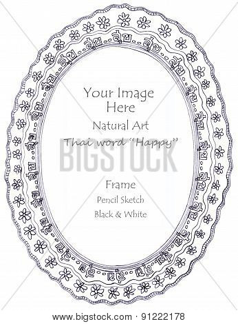 Happythai Word Pencil Sketch Picture Frame