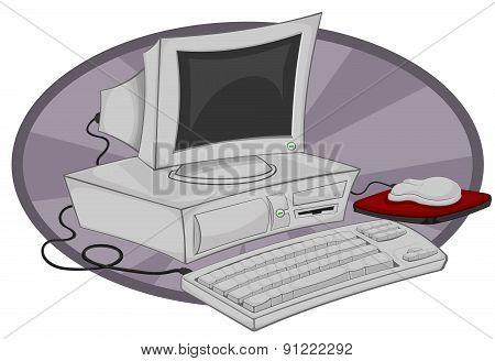 old desktop computer cartoon illustration