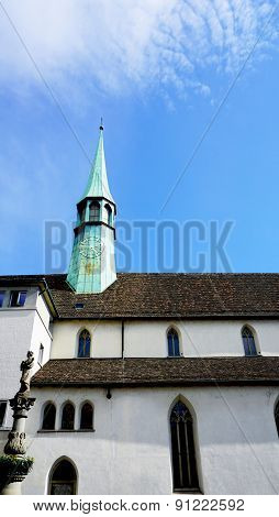 Historical Church In Zurich Vertical
