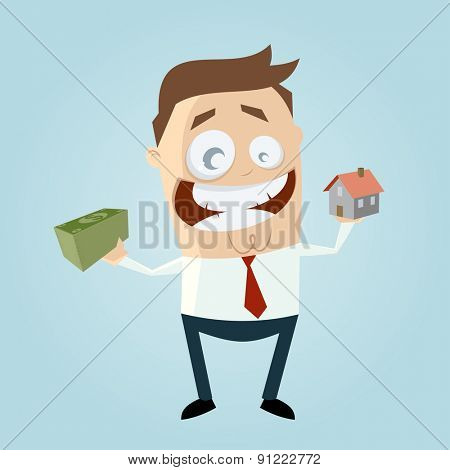funny businessman with house and money
