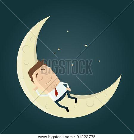 cartoon man sleeping on the moon