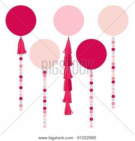 Vector holiday pink balls