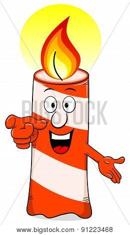 Cartoon Of A Birthday Candle On White