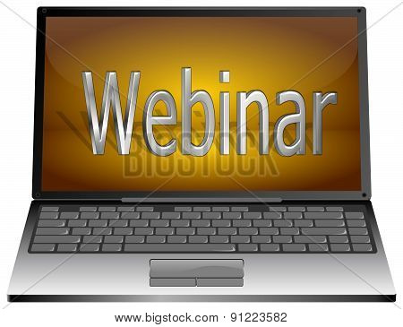 Laptop with webinar