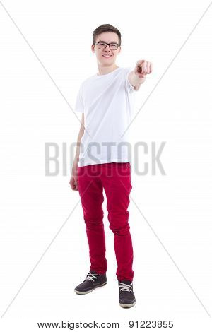 Young Man In White T-shirt Pointing At Something Isolated On White