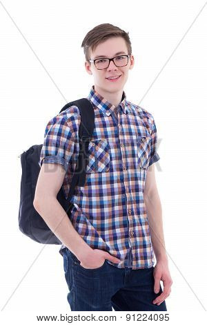 Portrait Of Handsome Teenage Boy With Backpack Isolated On White