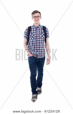 Front View Of Handsome Teenage Boy With Backpack Walking Isolated On White