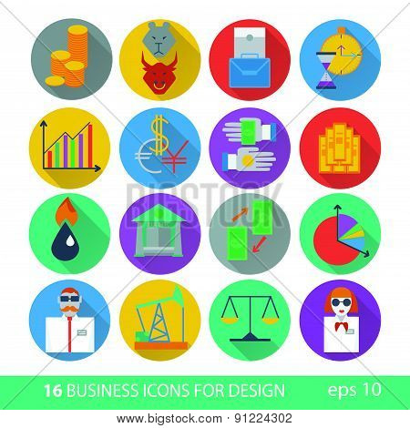 Set Of Sixteen Icons Business Management And Human Resources. Illustrations 10 Eps.