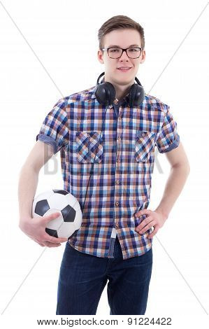 Portrait Of Handsome Teenage Boy With Headphones And Soccer Ball Isolated On White
