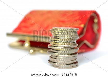 Coins and small purse