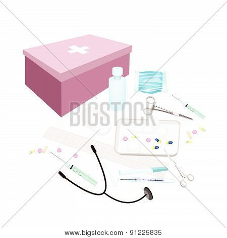 First Aid Box With Medical Supplies On White Background