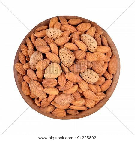 Almonds In A Wooden Bowl On A White Background
