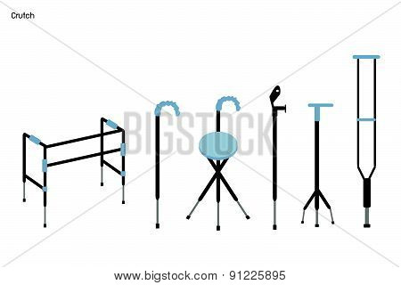 Set Of Crutches And Walkers On White Background