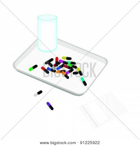 Medical Capsules With Drinking Water On Counting Tray