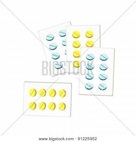 Medical Pills In Blister Packs On White Background