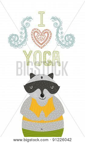 Yoga label with cute meditator raccoon