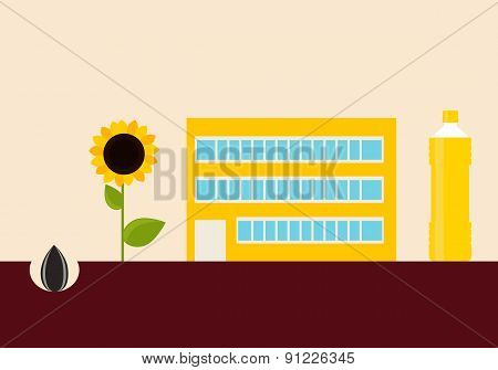 Production of sunflower oil. Concept agriculture. Vector illustration