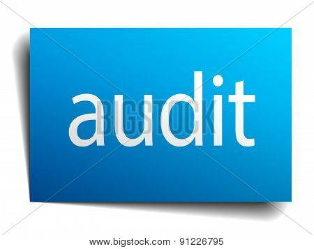 Audit Blue Square Isolated Paper Sign On White