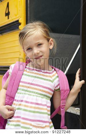 Elementary School Pupil Boarding Bus