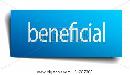 Beneficial Blue Square Isolated Paper Sign On White