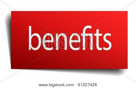 Benefits Red Paper Sign Isolated On White
