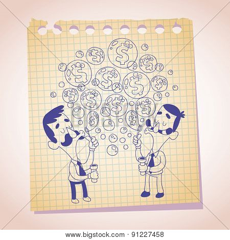 dollar bubbles concept note paper cartoon illustration