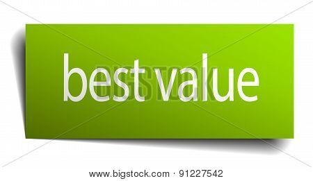 Best Value Green Paper Sign On White Background
