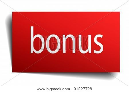 Bonus Red Paper Sign Isolated On White