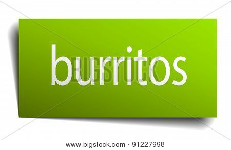 Burritos Green Paper Sign On White Background