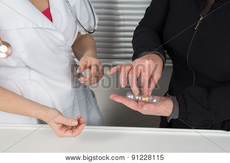 Pills, Tablets And Drugs Heap In Doctor Hand,