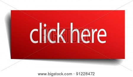Click Here Red Paper Sign Isolated On White